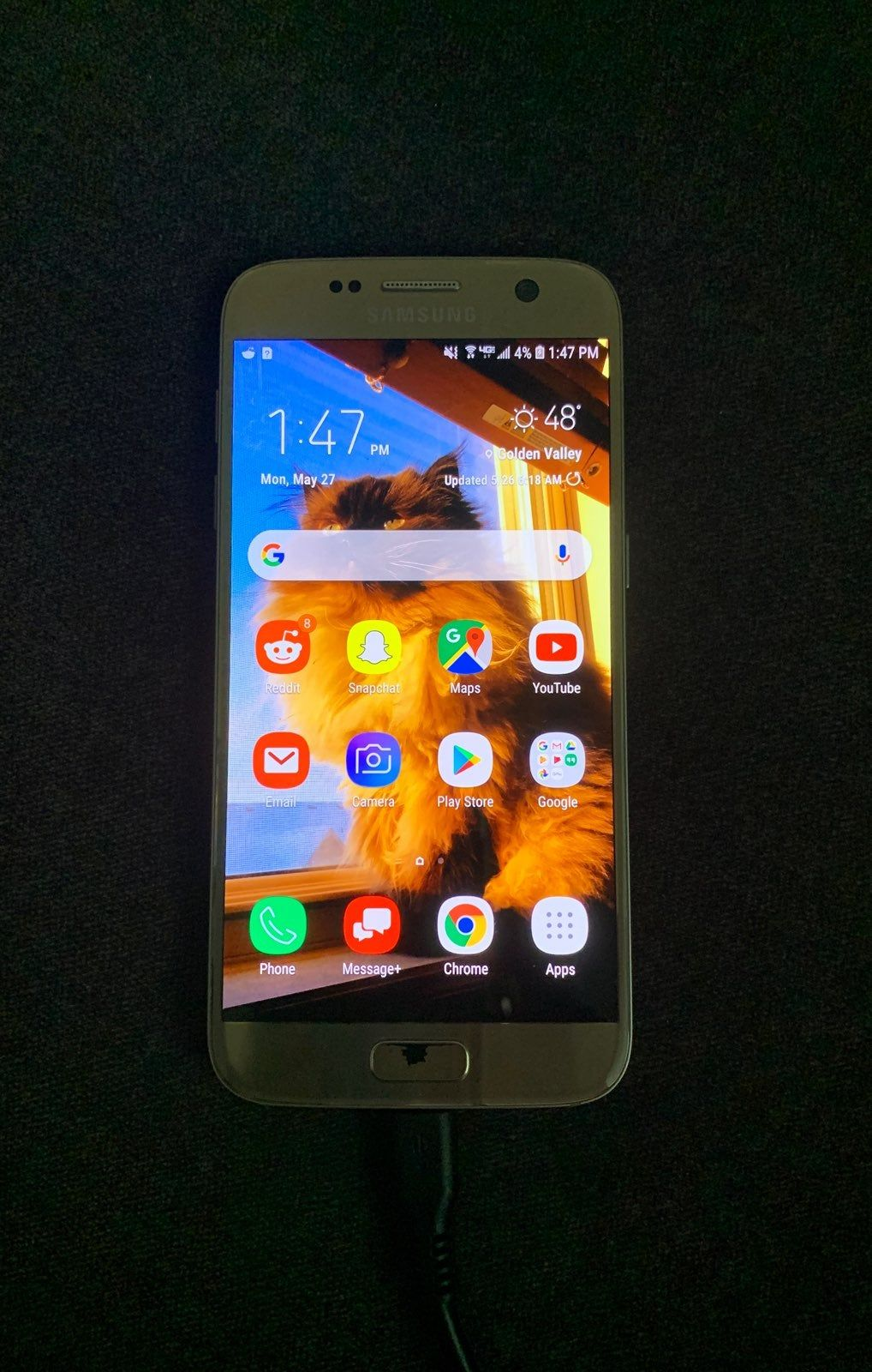 Samsung Galaxy S7, used on Verizon 32g Gold foil rubbed