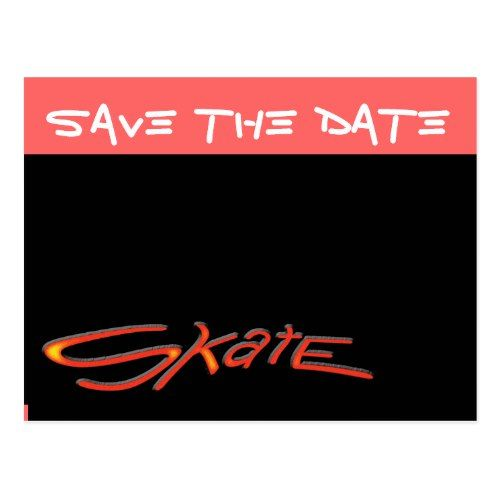 Save The Date Postcard Skate Birthday Party Pinterest