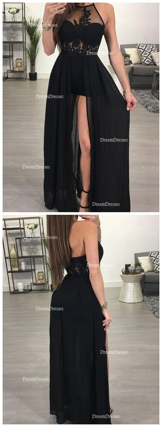 Sexy Black See Through Side Slit Evening Prom Dresses Beaded Long