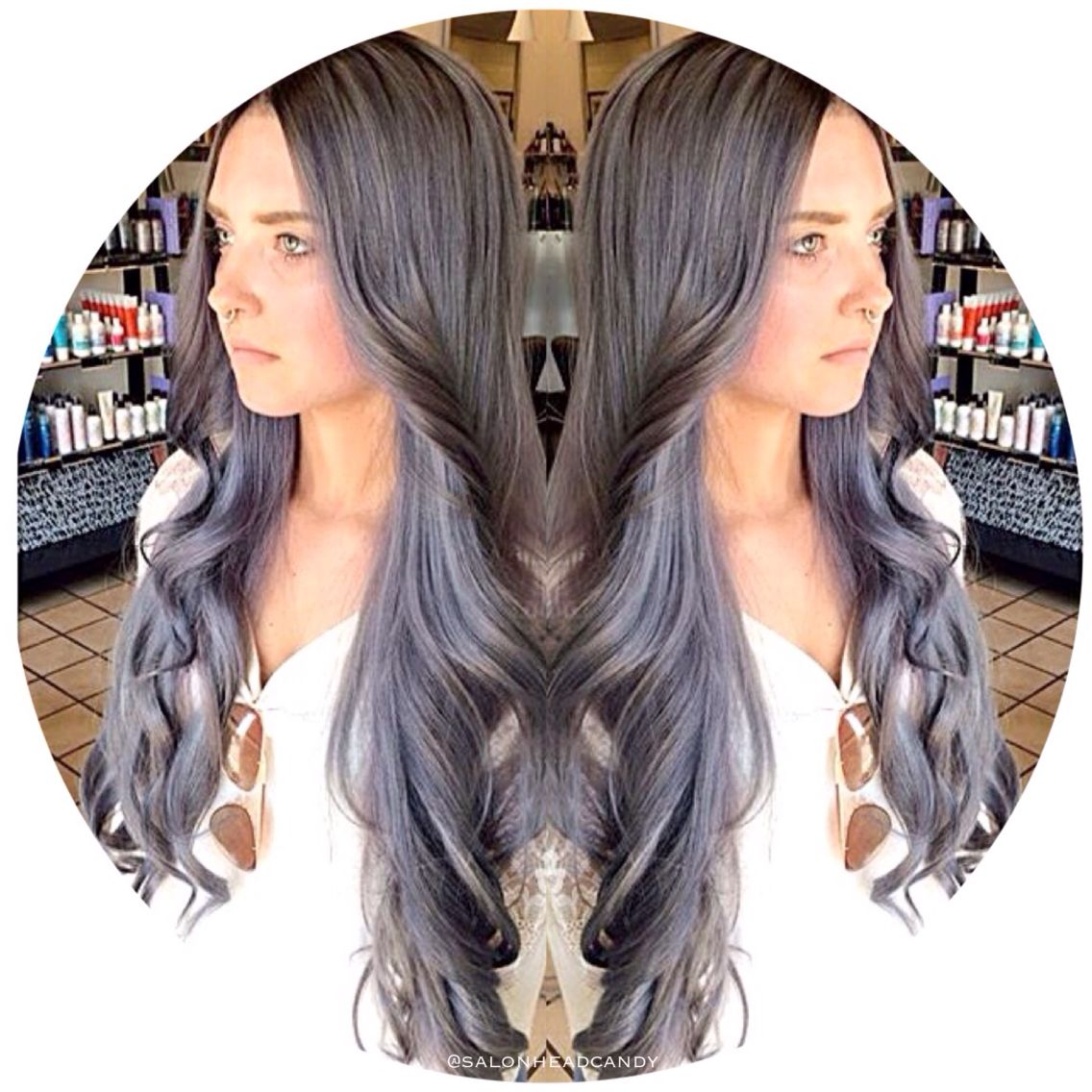 Stunning Gorgeous Silver Gray Hair With Purple Undertones And A