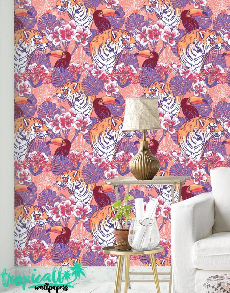Tiger and Toucan Wallpaper Removable Wallpapers Floral