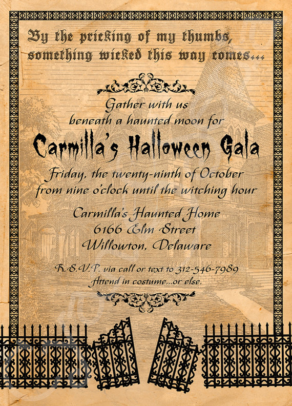 printable halloween party invitation 5x7 haunted house gate