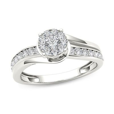 3/8+CT.+T.W.+Diamond+Frame+Bypass+Engagement+Ring+in+14K+White+Gold