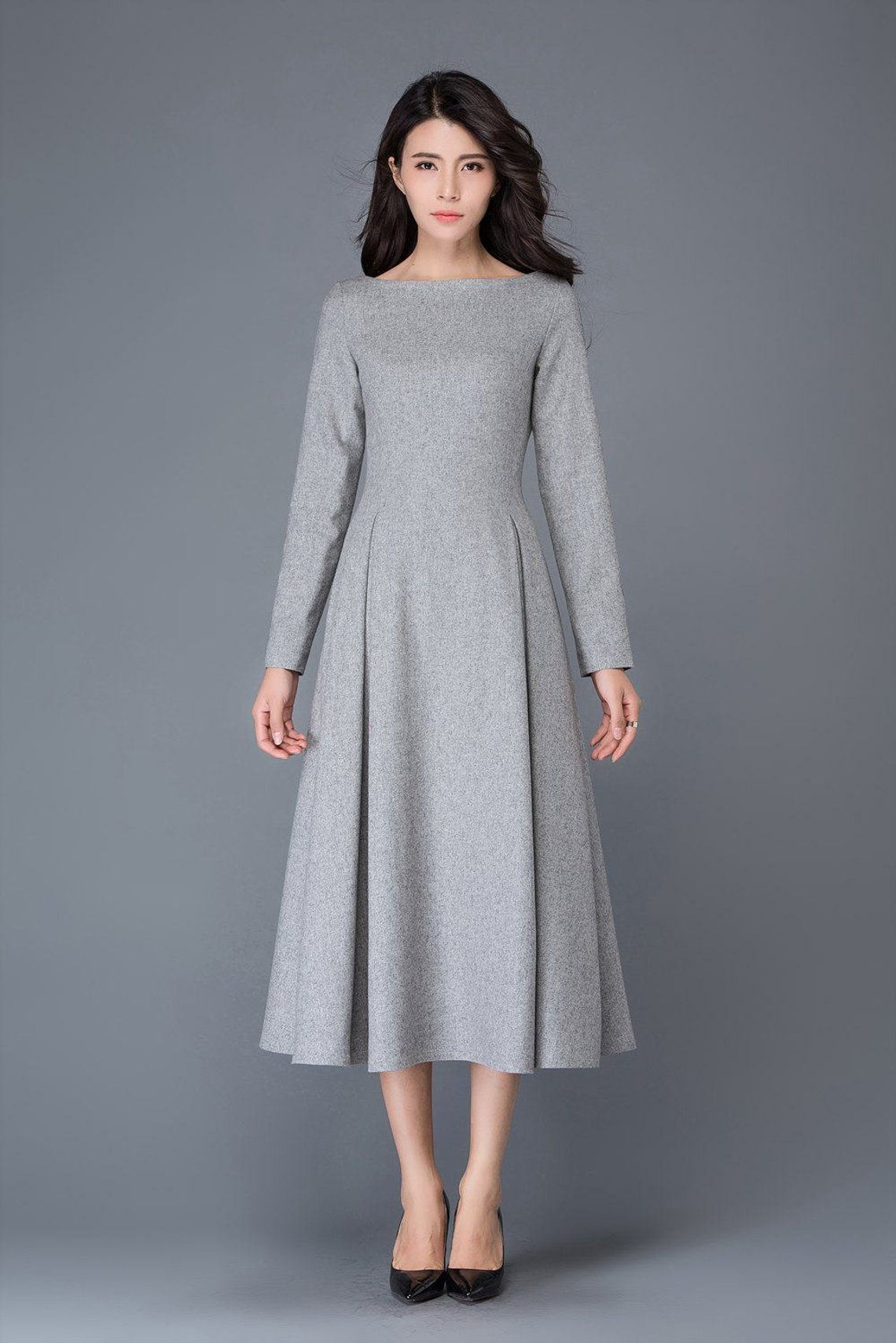 2c5cf211ac1d65 womens dress, wool dress, winter dress, gray wool dress, boat neck ...
