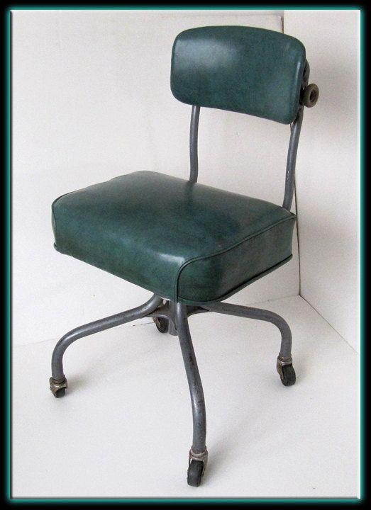 Vintage 40s 50s Steel Case Industrial Metal Office Chair