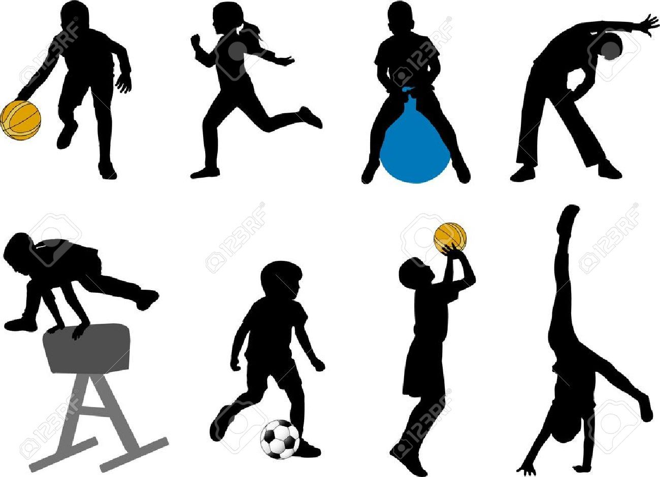 Playing Sports Stock Illustrations Cliparts And Royalty Free Siluet Shkola Sport