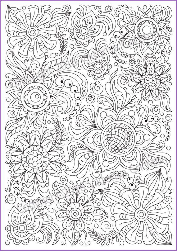 Soloring Page Doodle Flowers Printable Zen Doodle Pdf Etsy In 2020 Mandala Coloring Pages Pattern Coloring Pages Coloring Pages