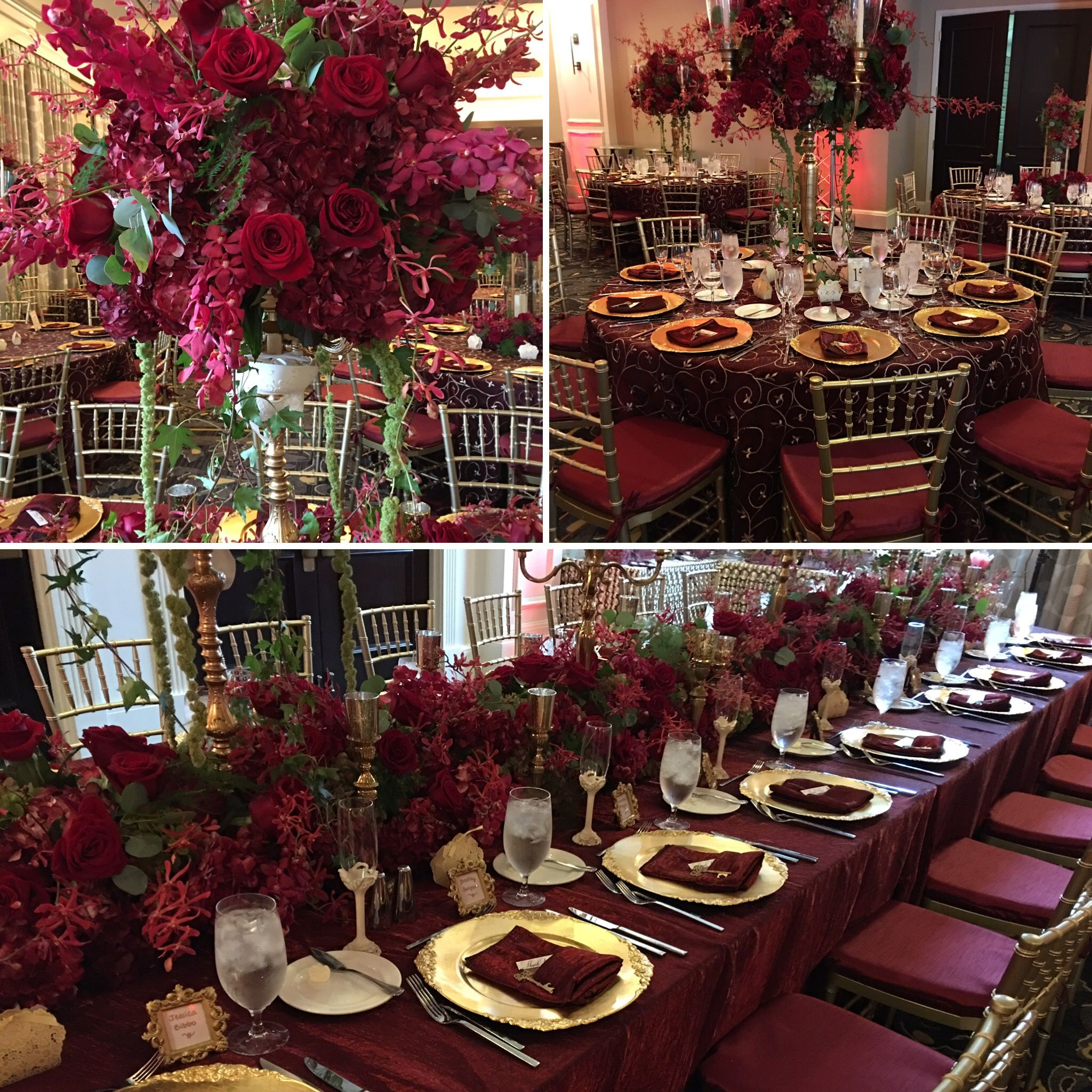 Burgundy floral decor for a phantom theme bridal or quince