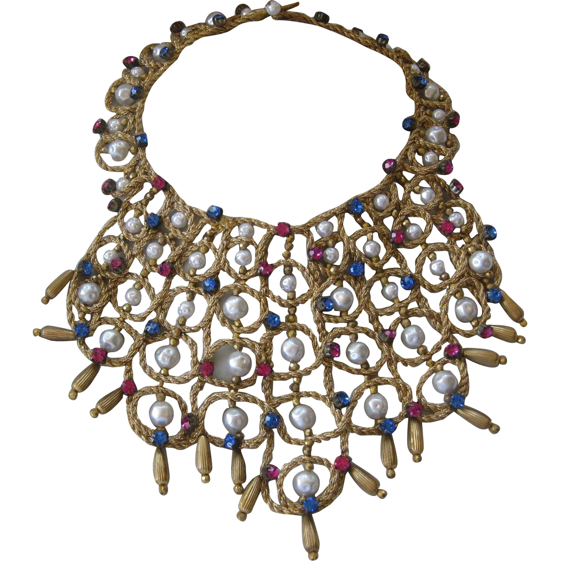 Vintage Couture Woven Rhinestones & Pearls Huge Bib Necklace