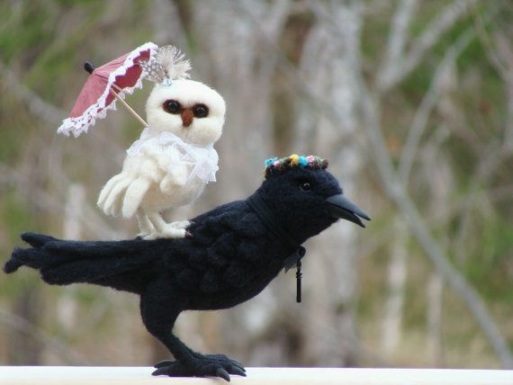 SALE SALE Needle Felted The Raven and the Owl by McBrideHouse