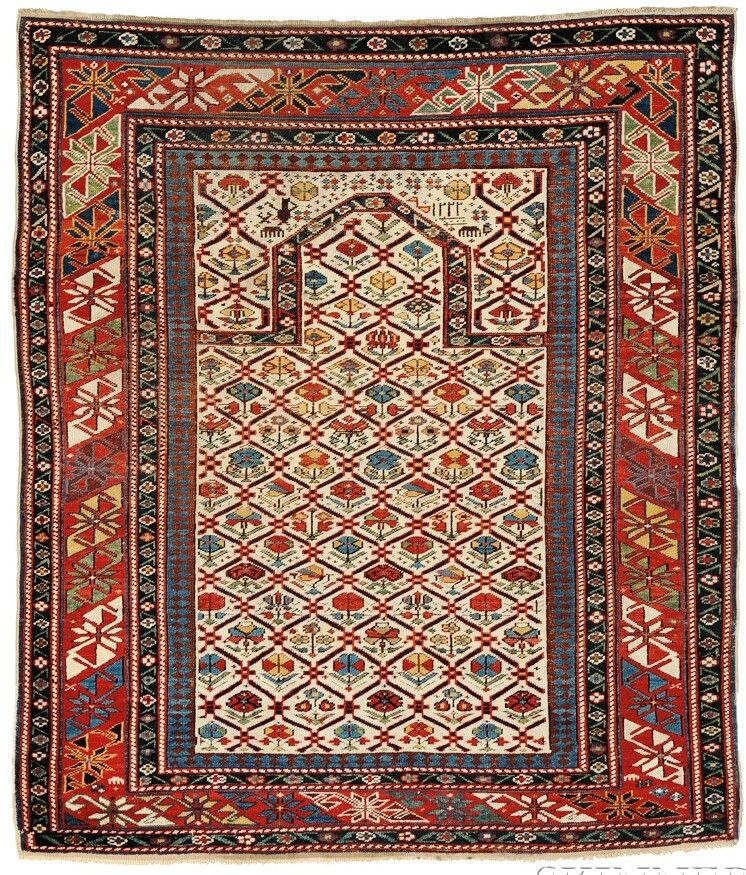 Prayer Rug Types: Daghestan Prayer Rug, Northeast Caucasus, Dated 1806