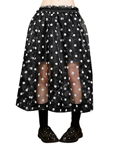 Female Organza Fabric Polka Dot Waisted Skirt Black