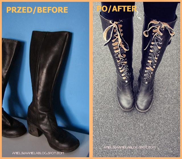 Anielska Aniela Blog O Przerobkach I Szyciu Ubran Sewing And Refashion Diy Diy Tutorial Lace Up Boots Sznuro Diy Lace Up Boots Diy Lace Up Lace Up Boots