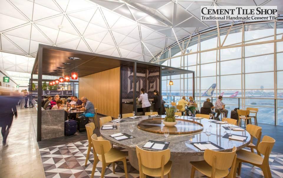 Cement Tile Shop Handmade Cement Tile Diagonal Pattern Qantas Lounge At The Hong Kong International Airport Call 8 Cement Tile Shop Lounge Airport Lounge