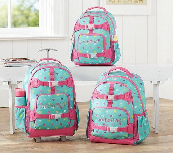 Mackenzie Bright Aqua Heart Backpacks Pottery Barn Kids