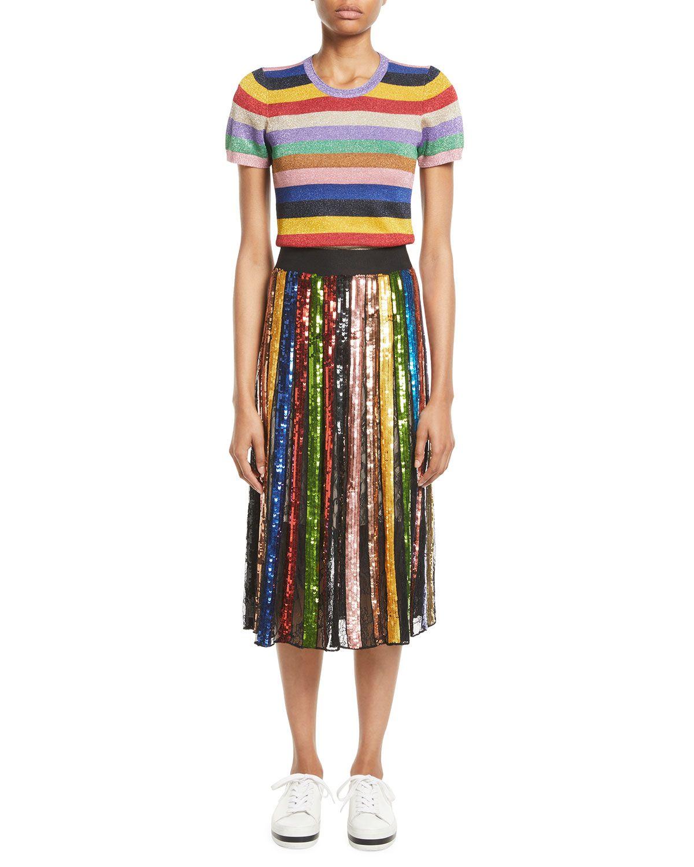 b7e0aab375 Alice + Olivia Tianna High-Rise Sequin Lace Midi Skirt | Neiman Marcus