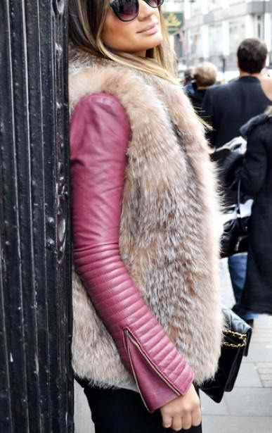 Leather jacket and fur gilet - Outfit ideas and inspiration for a perfect street style moment during Fashion Week - #fashion #outfit