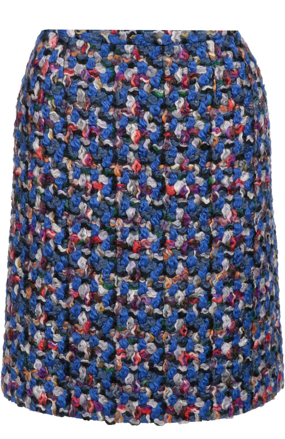 Женская синяя буклированная мини-юбка прямого кроя Emilio Pucci, сезон FW 16/17, арт. 66/RV92/66704 купить в ЦУМ | Фото №1