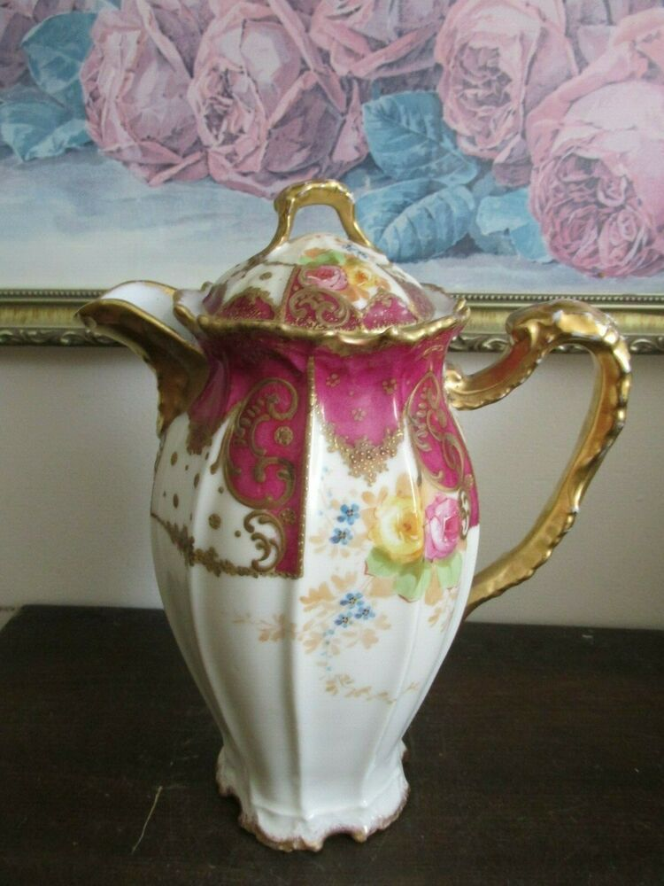 Antique B H Limoges France Hand Painted Chocolate Pot Burgundy Red Roses Gold Limoges Ros Gold
