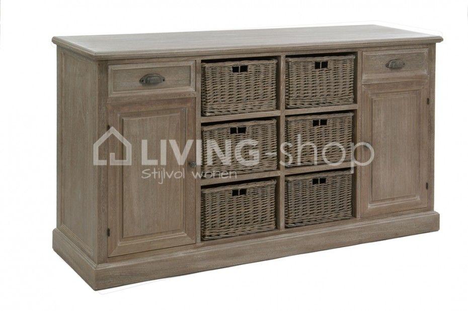 Bahut avec paniers de style campagnard, meubles J-line boutique en