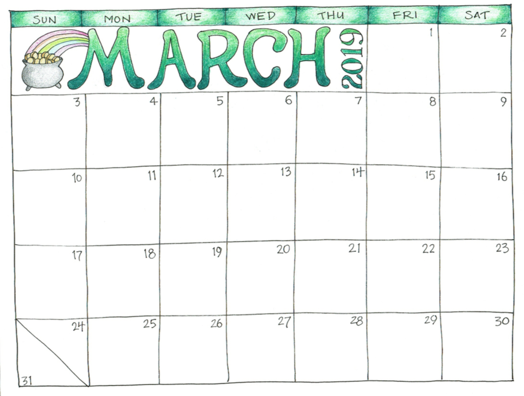 March 2019 Printable Calendar March 2019 Printable Calendar for Kids #MarchCalendar