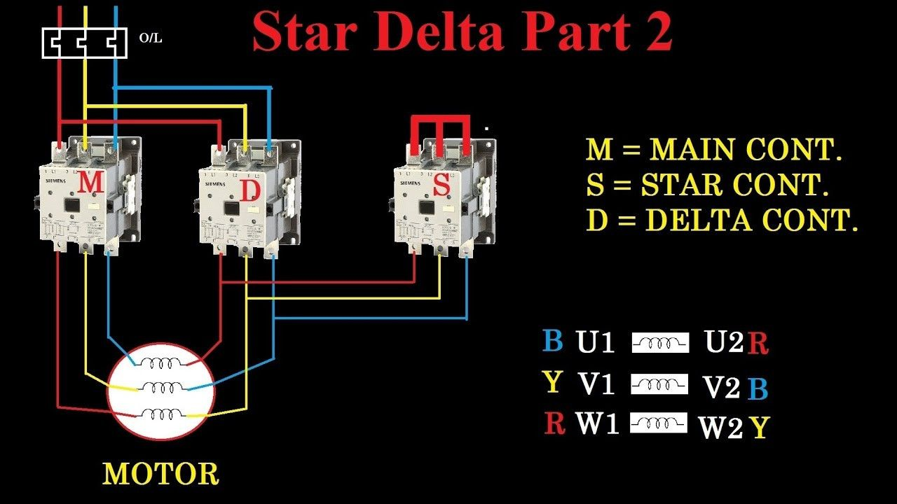 star delta starter motor control with circuit diagram in hindi within wiring [ 1280 x 720 Pixel ]
