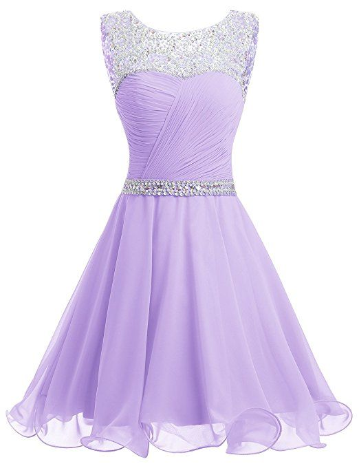 Dresstells Short Chiffon Open Back Prom Dress With Beading