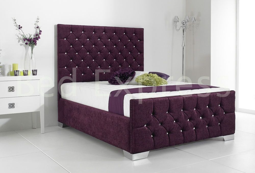 Details About Stylish Fabric Upholstered Bed Frame