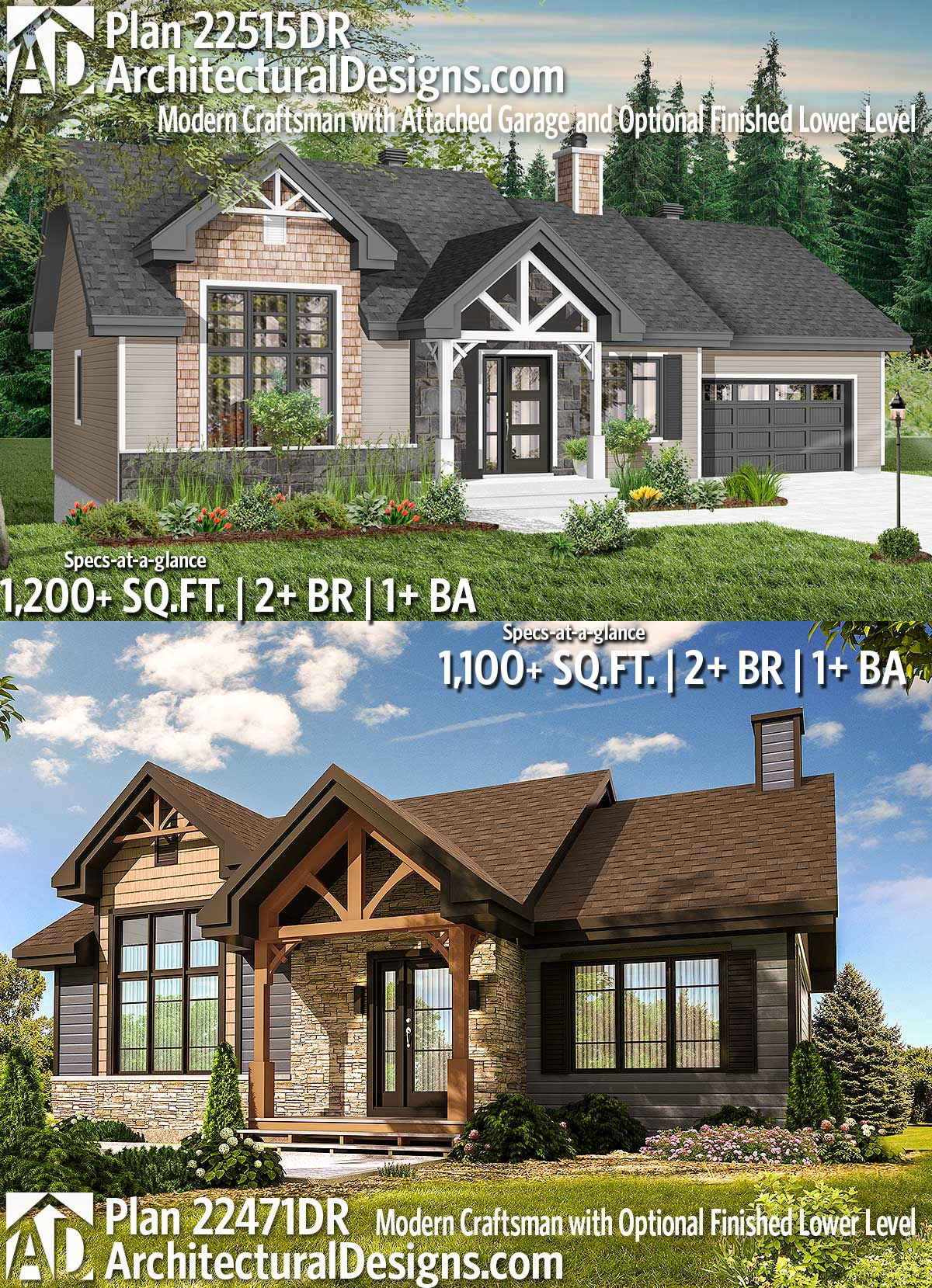 Plan 22515Dr Modern Craftsman With Attached Garage And Optional Finished