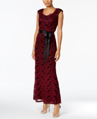 r  m richards lace belted gown  macys  gowns