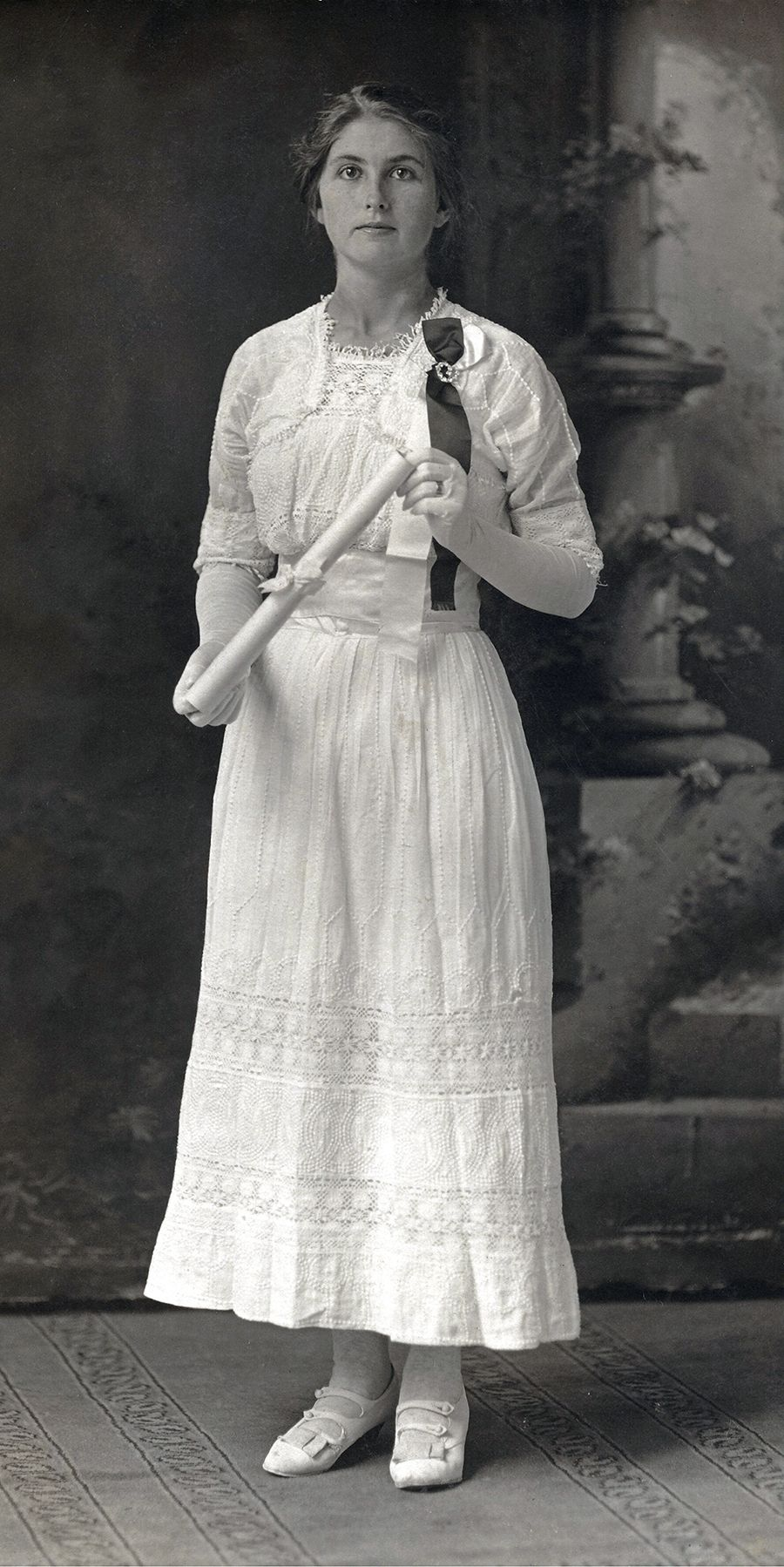 Young woman on graduation day, 1918, Howell County, Missouri