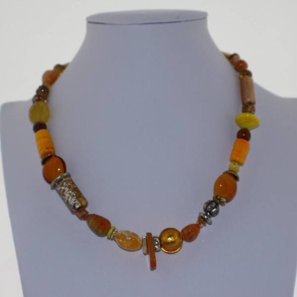 Murano Glass Necklace in Hues of Yellow