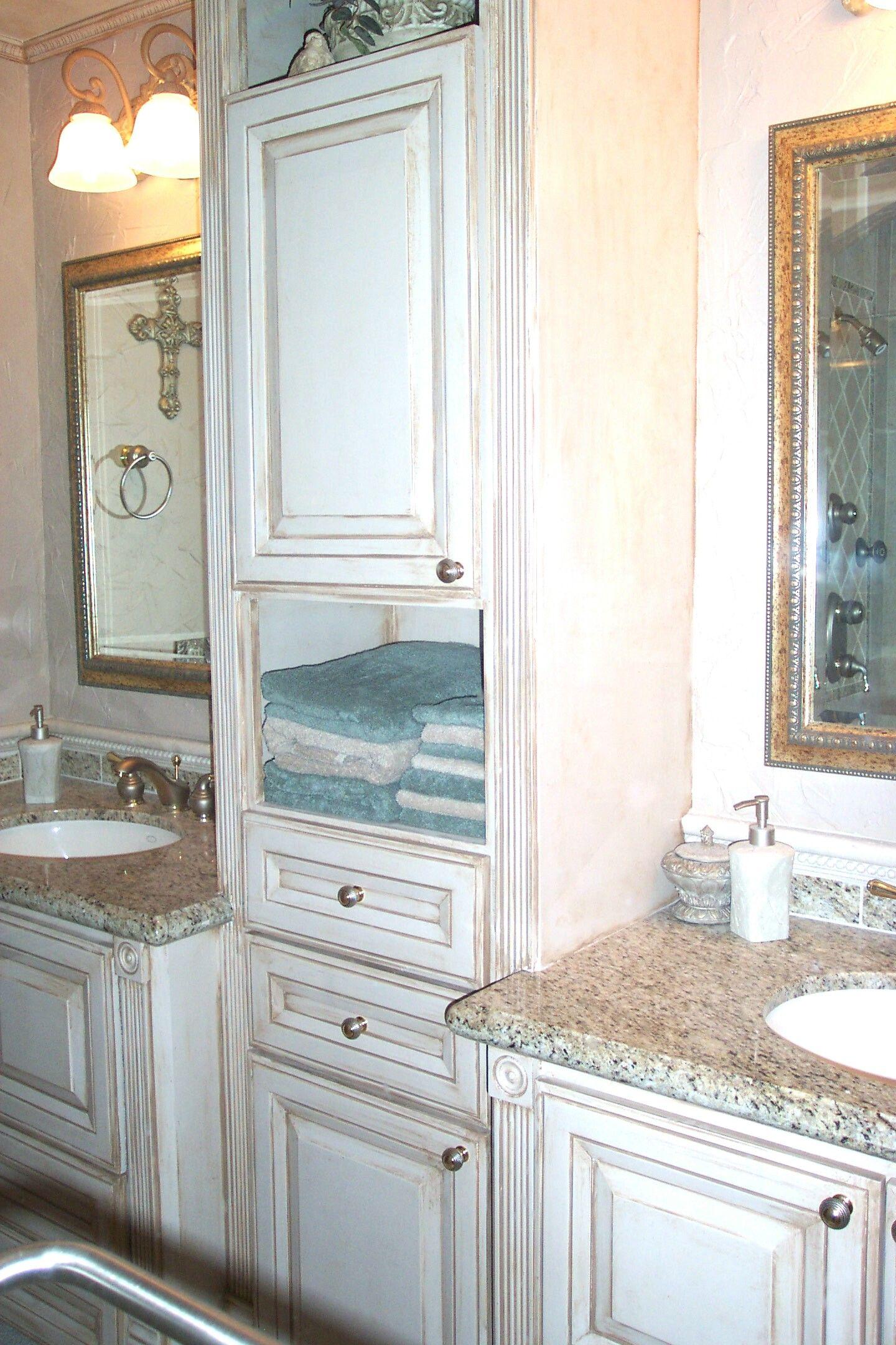 Custom Built Bathroom Cabinets With Linen Cabinet And Pull Out - Custom built bathroom vanity for bathroom decor ideas