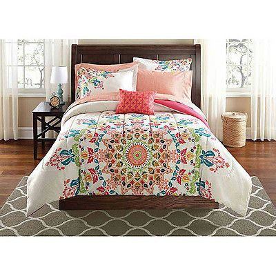 New Girls Twin XL Comforter White Red Teal Coral Kaleidoscope Bedding Set
