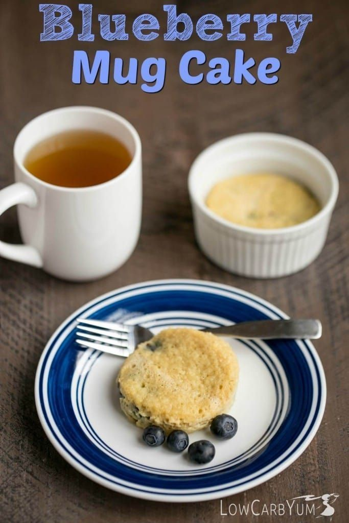 A tasty low carb blueberry mug cake that bakes up in ...