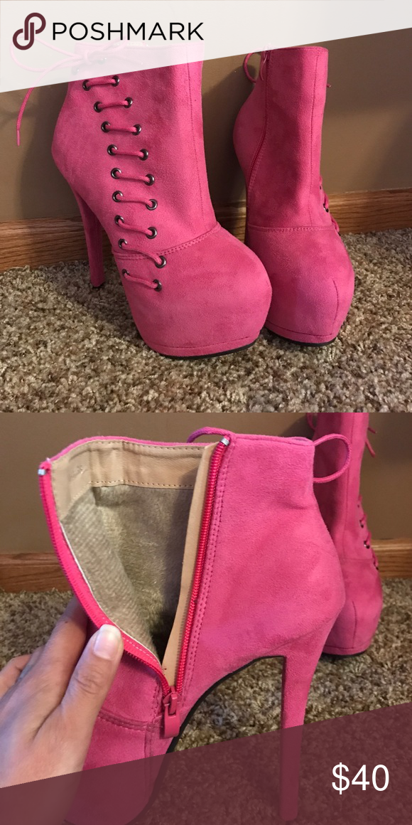 Pink suede ankle boots. Worn once! Have 6inch heel. Super comfortable! Shoes Ankle Boots & Booties