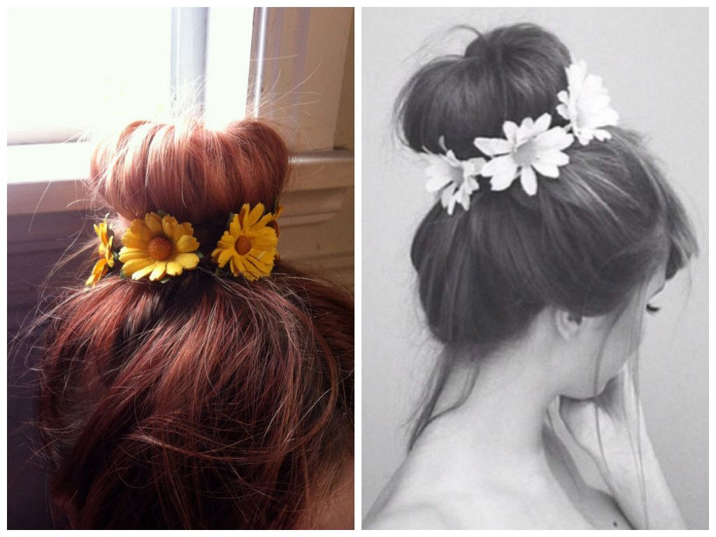 Top-Knot-with-Flower-Headband-Hippie-Hairstyle | halloween ...