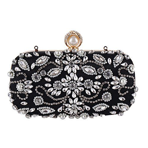 Black Evening Bag Unique White Flower Purses with Rhinestones Crystal Clutch Evening Bags with Shoulder Strap >>> Continue to the product at the image link. Note: It's an affiliate link to Amazon