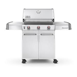 Weber Genesis S 310 3 Burner Propane Gas Grill In Stainless Steel 6550001 At The Home Depot Natural Gas Grill
