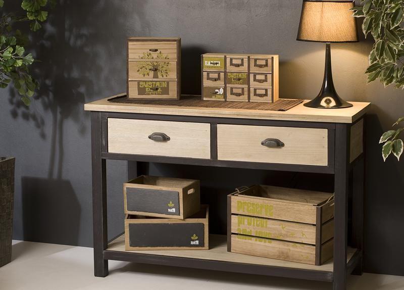 console en bois et fer 2 tiroirs 1 tag re lina maison facile. Black Bedroom Furniture Sets. Home Design Ideas