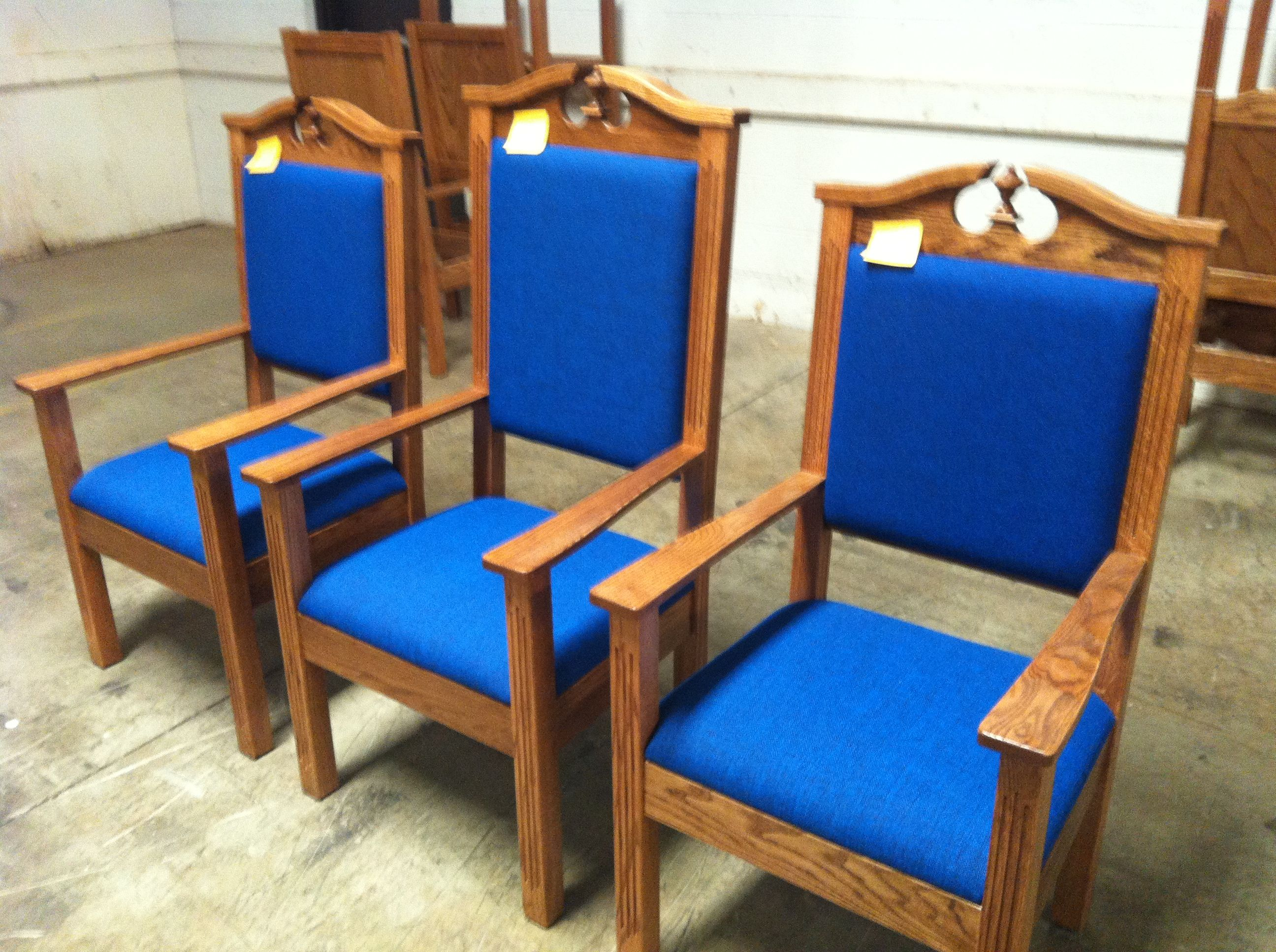 ministers chairs in royal blue fabric