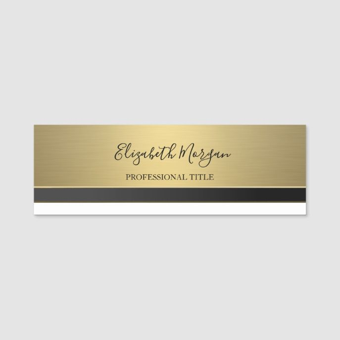 Elegant Stylish Gold Name Tag | Zazzle com | Custom Office Name Tags