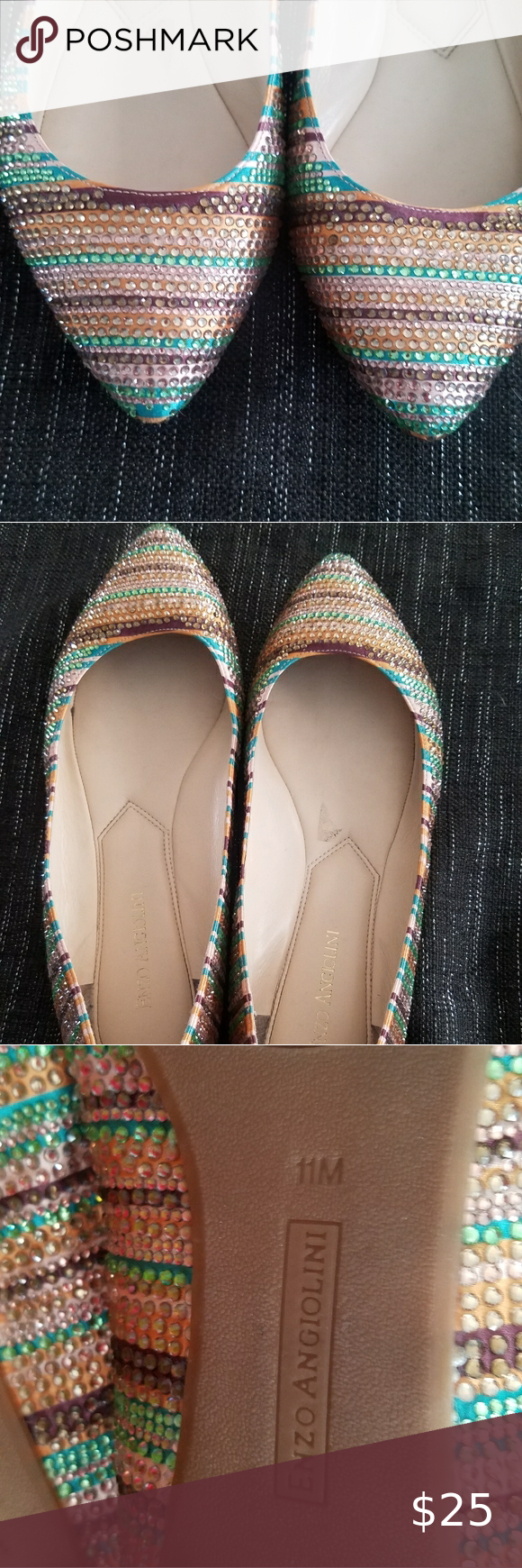Photo of Rhinestone Flats Rhinestone striped flats! I have worn these once for a photo sh…