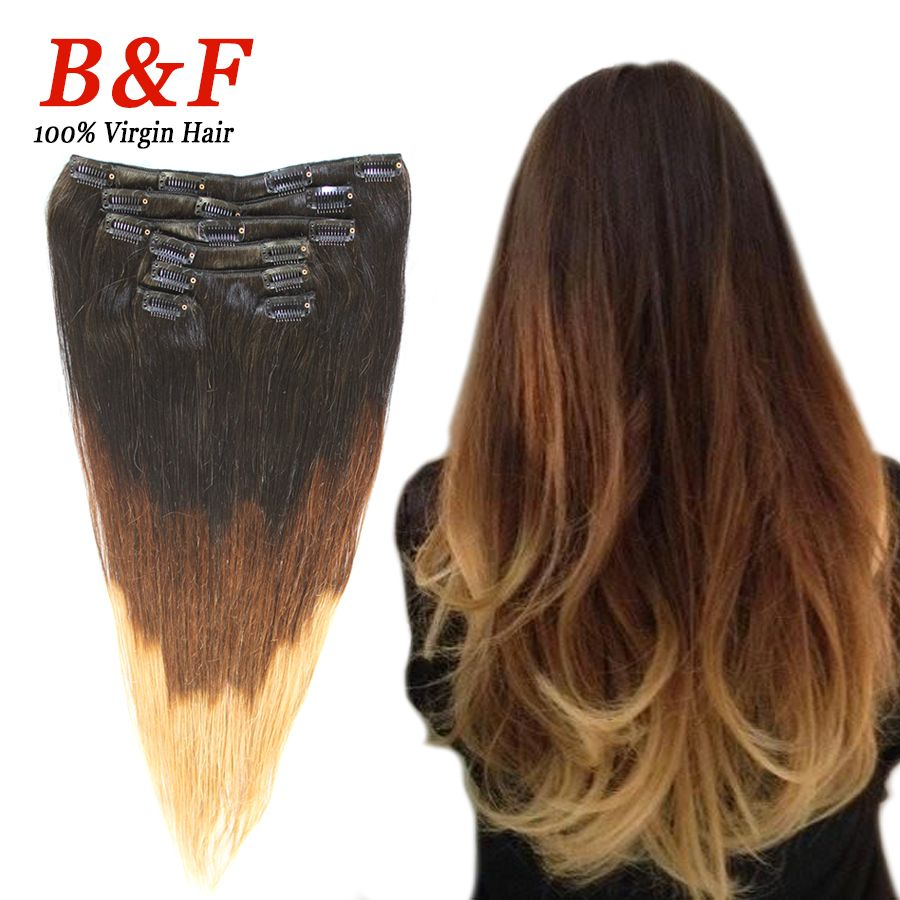 Clip In Real Hair Extension Ombre Hair Straight Styling 7 Pieces