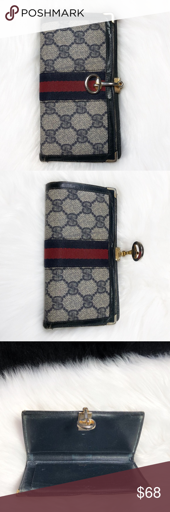 565a603bd7d4 Gucci Vintage Checkbook Holder Vintage Gucci coated canvas checkbook holder.  Navy guccisima print with Gucci signature stripe and hinge horsebit clasp.