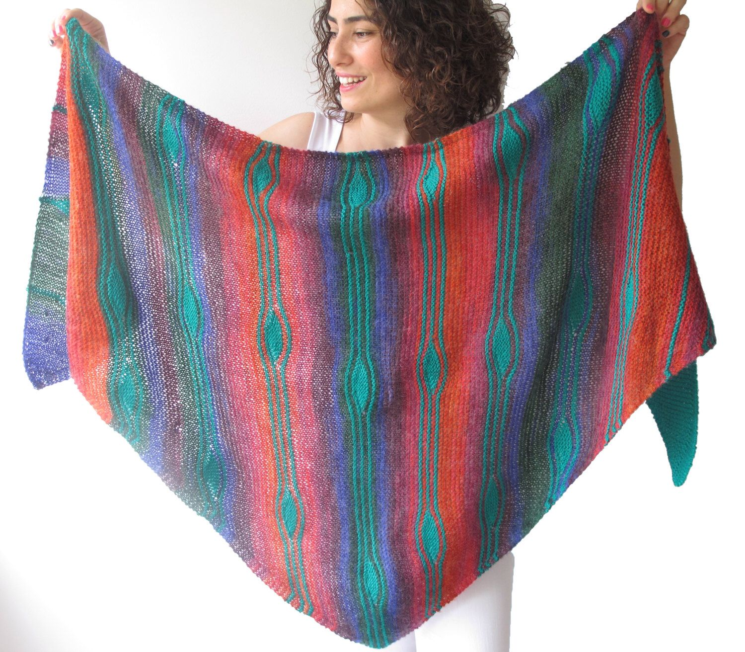 NEW! Assymetric Colorful Striped Shawl - Triangle Shawl by Afra by afra on Etsy https://www.etsy.com/listing/191775642/new-assymetric-colorful-striped-shawl
