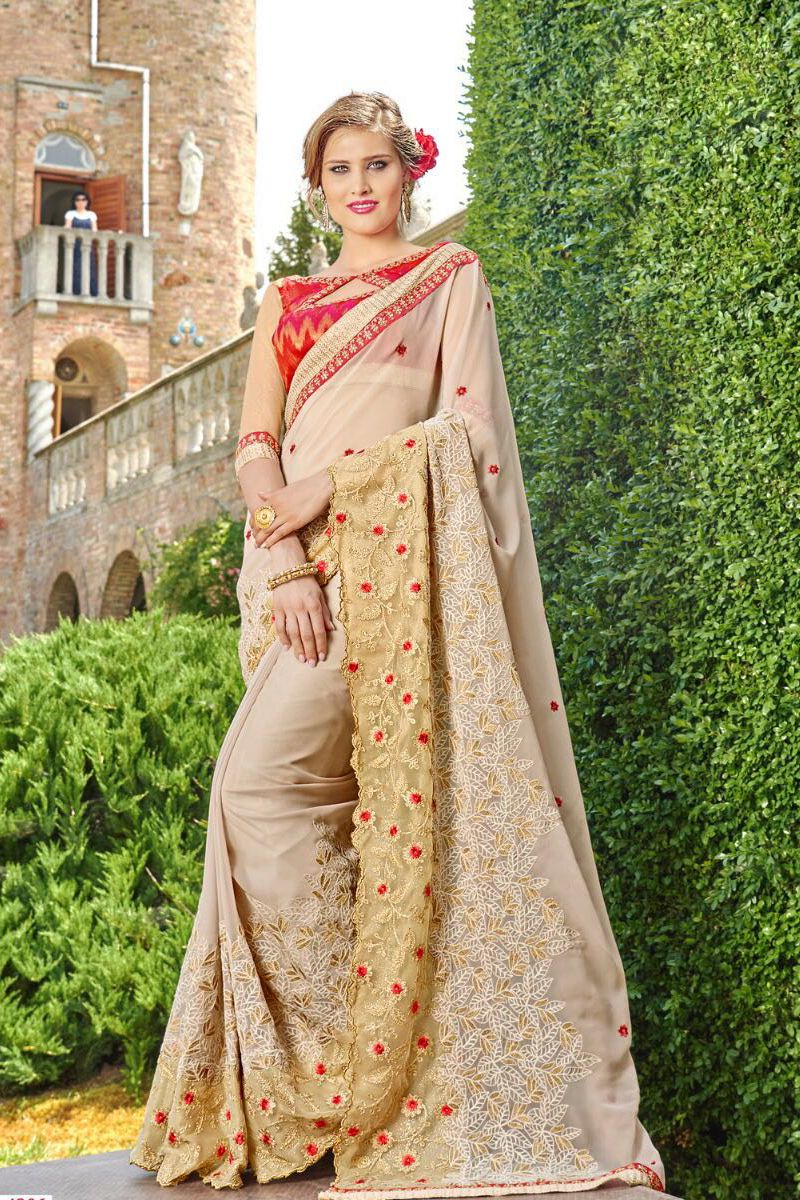 Beige-Designer-Wedding-Wear-Embroidary-Saree-Padmavati ...