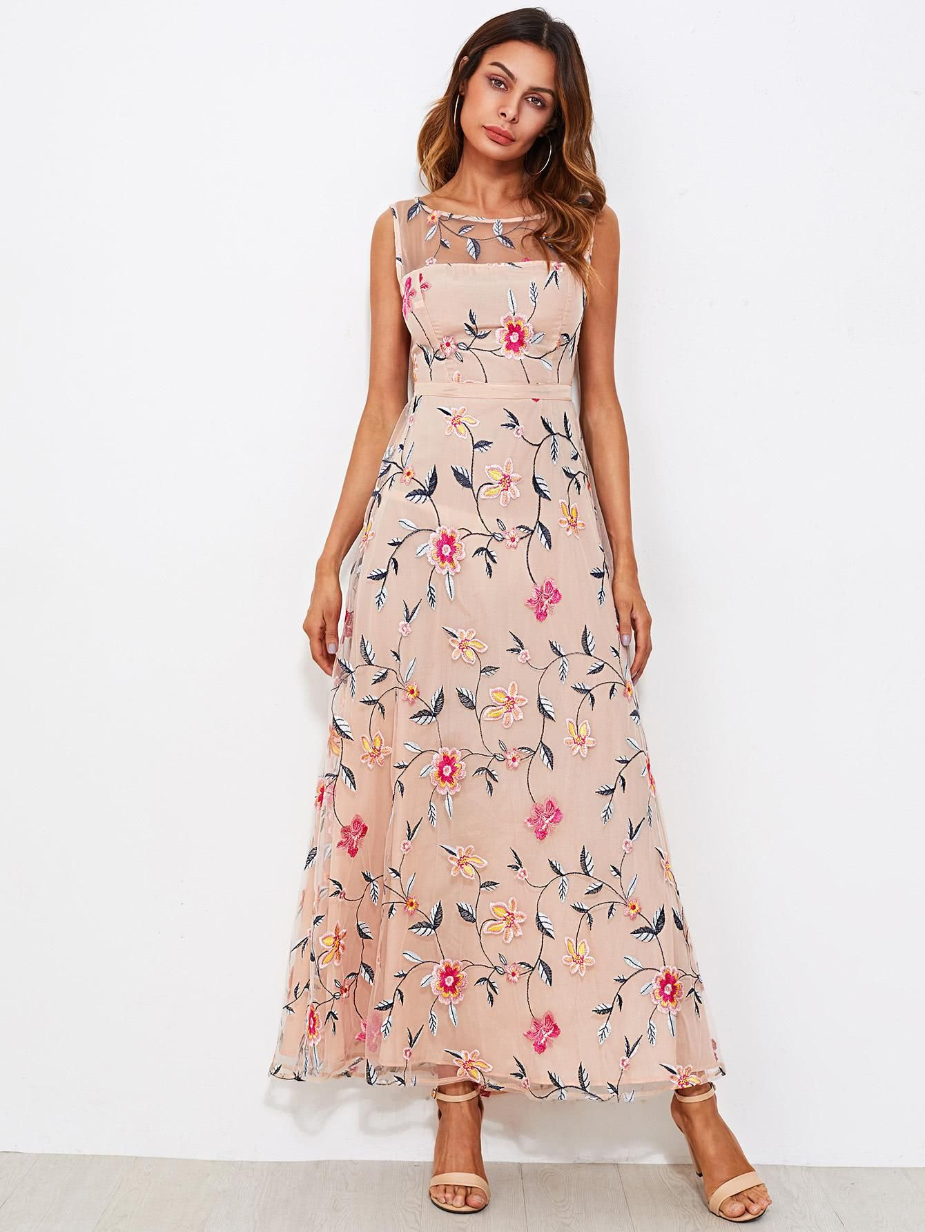 4098f1dbc SheIn - SheIn All Over Flower Embroidered Mesh Overlay Dress - AdoreWe.com