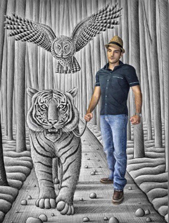 Pencil vs. Camera Tiger Owl Man - Ben Heine (Print)