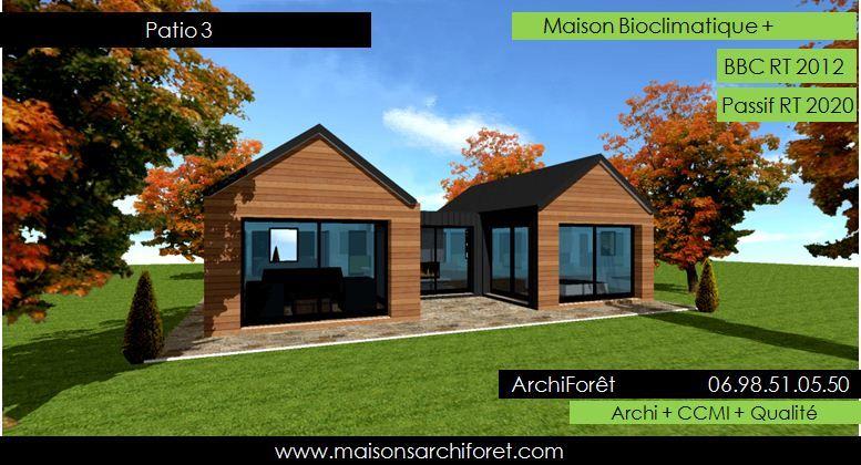 Patios maison avec patio par architecte constructeur ossature bois du plan de permis de for Architecte constructeur